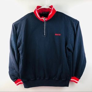 Nautica Vtg 90s Sweatshirt Embroidered Spell Out